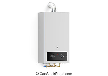 Home gas boiler, water heater. 3D rendering isolated on white background