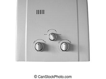 Home gas heater system closeup