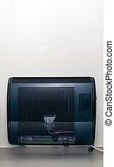 Home gas heating radiator closeup