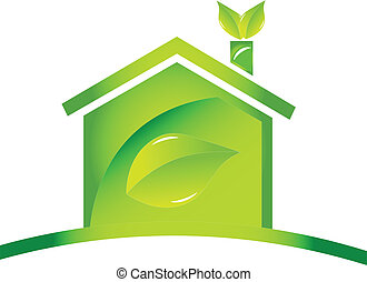 Home glossy ecological icon logo