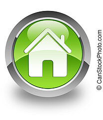 Home glossy icon - home icon on glossy green round button