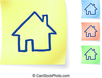 home graphic on sticky note
