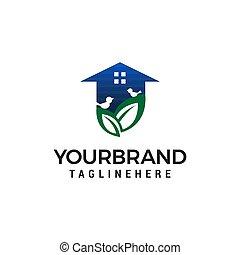 home green logo design concept template vector