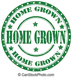 Home Grown-stamp - Grunge rubber stamp with text Home...