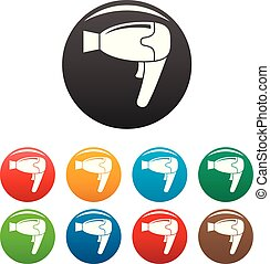 Home hair dryer icons set color - Home hair dryer icons set...