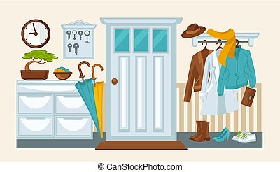 Home hallway interior colorful flat illustration in flat...