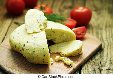 home-hard cheese with dill