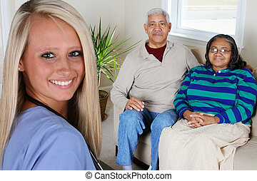 Home Health Care - Home health care worker and an elderly ...