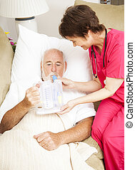Home Health - Respiratory Therapy - Home health nurse uses...