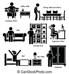Home House Furniture Icons - A set of human pictogram using...