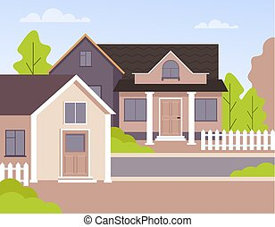 Home house local street. Vector flat graphic design isolated illustration