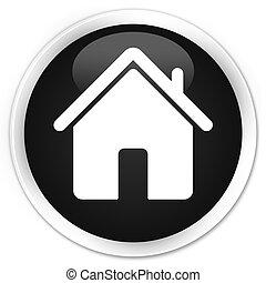 Home icon black glossy round button