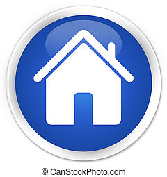 Home icon blue glossy round button