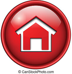 home icon, button, 3d red glossy circle.