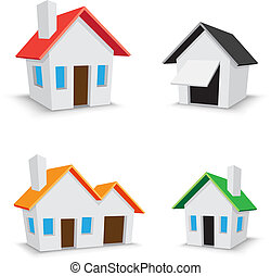 home icon - The simple color house icons isolated on the...