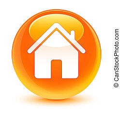 Home icon glassy orange round button