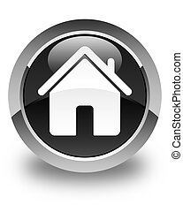 Home icon glossy black round button