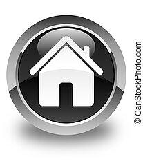 Home icon glossy black round button