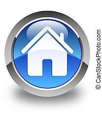 Home icon glossy blue round button