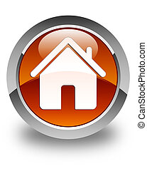 Home icon glossy brown round button