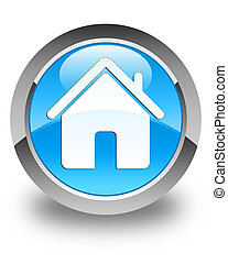 Home icon glossy cyan blue round button
