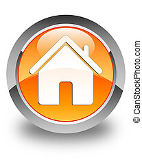 Home icon glossy orange round button