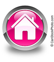 Home icon glossy pink round button