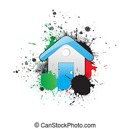home Icon - grunge blue home Sign Icon, vector illustration