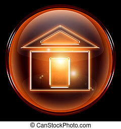 home icon. - home icon, isolated on black background