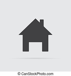 Home icon in flat style isolated on grey background.