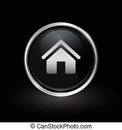 Home icon inside round silver and black emblem