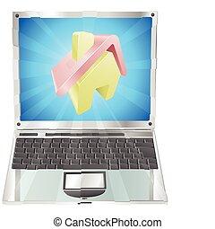 Home icon laptop concept