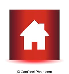 Home icon on a red background