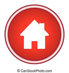 Home icon on a red background. Vector illustration.