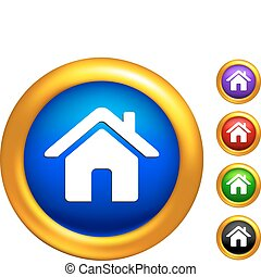 home icon on buttons with golden borders