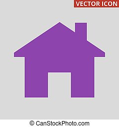 Home icon on grey background.