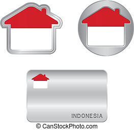 Home icon on the Indonesia flag