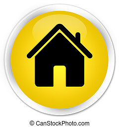 Home icon premium yellow round button