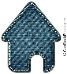 Home icon. Realistic denim. Vector eps10