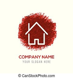 Home Icon - Red Water Color Circle Splash