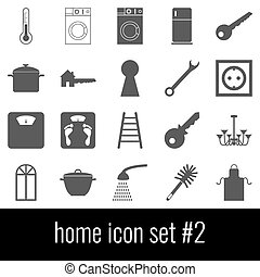Home. Icon set 2. Gray icons on white background.