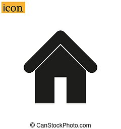 Home icon, Silhouette of simple house, vector illustration