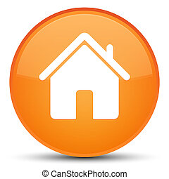 Home icon special orange round button