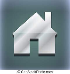 Home icon symbol. 3D style. Trendy, modern design with space for your text . Raster