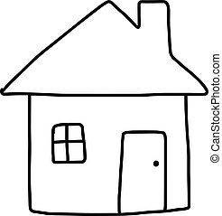 home icon - vector illustration sketch hand drawn with black lines, isolated on white background