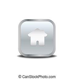 Home icon ,vector metal button