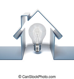 Home icon with bulb isolated on a white background. 3d ...