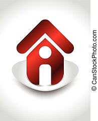 home icon with shaddow vector