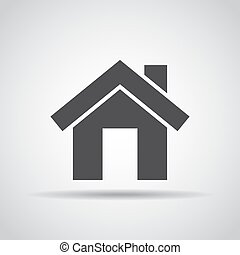 Home icon with shadow on a gray background. Vector illustration