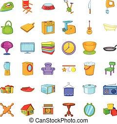 Home icons set, cartoon style